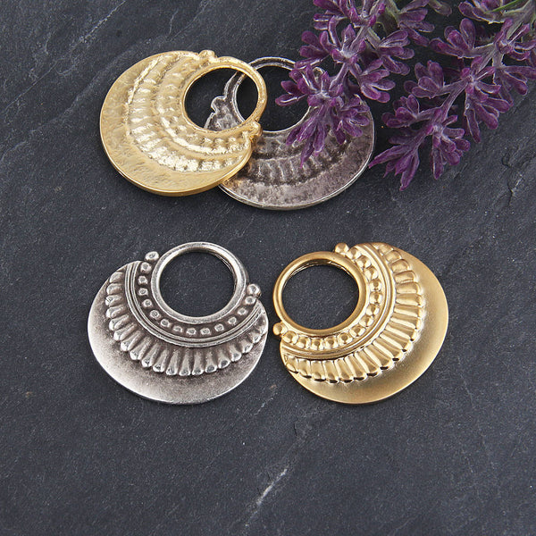 Silver, Tribal Loop Earring Dangles, Hoop Earring Pendants, 2 pieces // SP-314