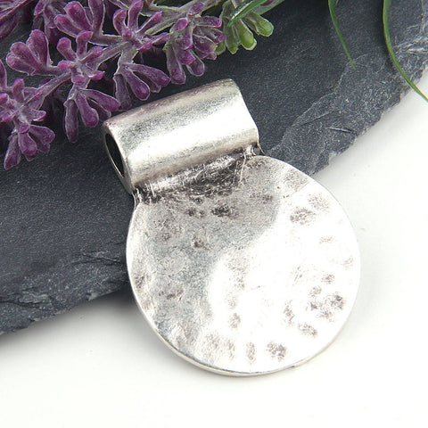 Silver Round Hammered Pendant with Large Bail, 1 piece // SP-315