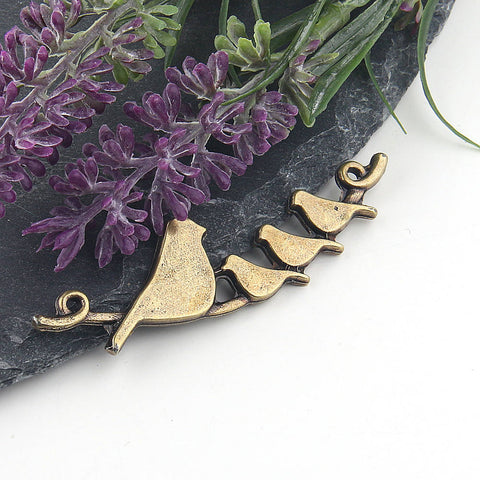 Bronze Birds on a Tree Pendant, Birds Pendant, Perched Bird, Animal Pendant, Tree Branch Pendant, 1 piece // ABP-086