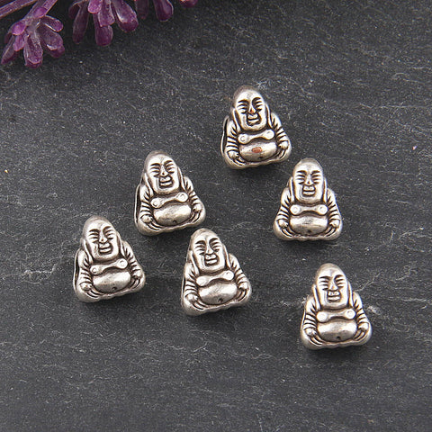 Silver, Large Hole Tibetan Buddha Beads, European Buddha Beads, Sitting Buddha Beads, 6 pieces // SB-114