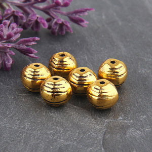 Antique Gold Tone Round Textured Metal Beads, 6 peices // GB-211