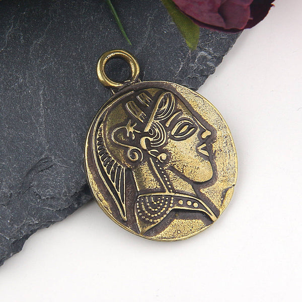 SALE, Replica Ancient Greek Lady Coin Pendant, Bronze, Old Coin Pendant // Coin Earring Dangle // Ancient Coin Pendant // 1 piece // ABP-096