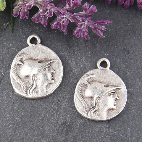 Replica Silver, Ancient Greek Coin Pendant, Replica, Old Greek Coin Pendant, 2 pieces // SP-320