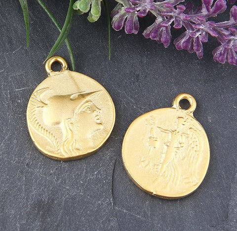 Replica Gold, Ancient Greek Coin Pendant, Replica, Old Greek Coin Pendant, 2 pieces // GP-519