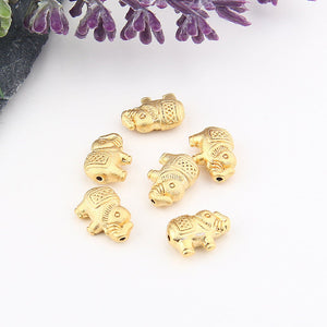 Mini Gold Tribal Elephant Beads, 6 pieces // GB-214