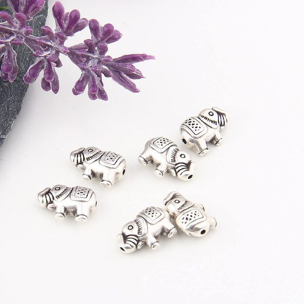 Mini Silver Tribal Elephant Beads, 6 pieces // SB-117