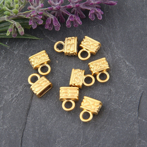 Gold Mini Tassel Caps, Gold Cord Ends, 8 pieces // GF-163