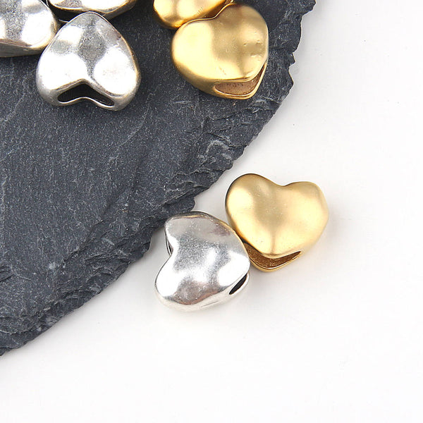 Large Hole Heart Bead Slider, Silver // Heart Bead Spacers // Silver Heart Beads // 4 pieces // SB-125