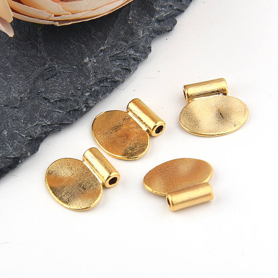 Flat Oval Slider Charms/ Gold Oval Charms / Gold Geometric Charms / Bracelet Charms, 4 pieces // GCh-259