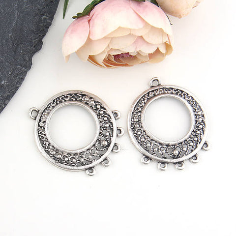 Round Chandelier Filigree Earring Components, Filigree Multiloop Pendant, Chandelier Link, Silver Plated, 2 pieces // SC-215