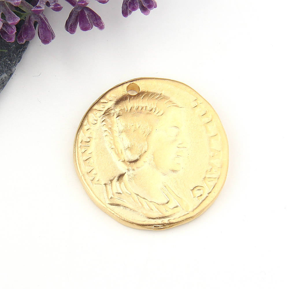 Replica Ancient Greek Coin Pendant, Gold, Old Greek Pendant, 1 piece // GP-522