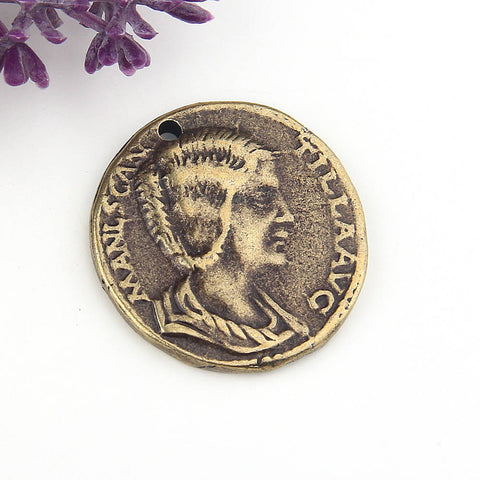 Replica Ancient Greek Coin Pendant, Bronze, Old Greek Pendant, 1 piece // ABP-089