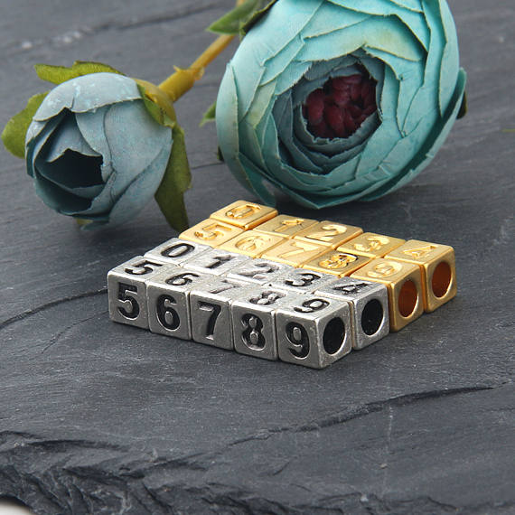 Metal Number Beads, Number Sliders, Number Cube Beads, Bead Sliders, Slider Cube Beads, 22k Matte Gold Plated, 0-9, 10 pieces // GB-227