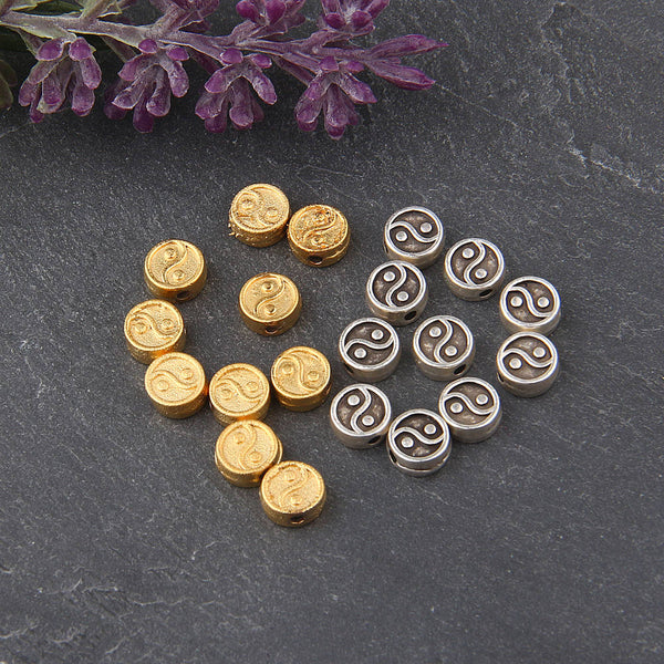 Gold Ying/Yang Beads, Flat Ying/Yang Beads, Double sided, 10 pcs // GB-219