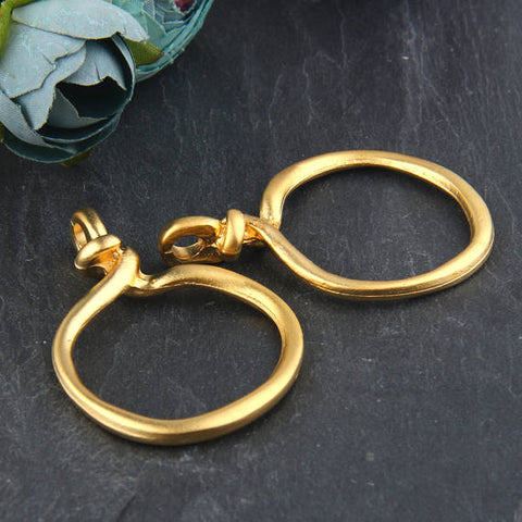 Large Circle Loop Connector, Loop Link, Large Loop Link, 22k Matte Gold Plated, 2 pieces // GC-502
