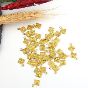 Raw Brass Mini Square Charms, Stamped Charms, Mini Thin Charms, 50 pieces //  RAW-046