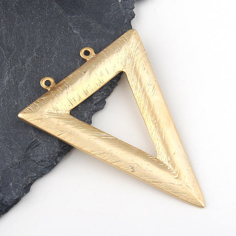 Large Triangle Pendant // Gold Triangle Pendant // Textured Triangle Pendant // Double Looped Pendant, 22k Gold Plated, 1 piece //GP-529