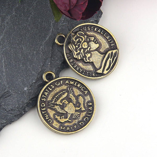 Replica Ancient US Coin Pendant, Bronze, Old Coin Pendant // Coin pendant // Ancient Coin Pendant //2 pieces // ABP-095