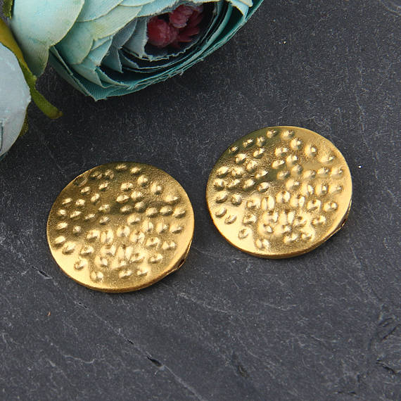 Round Flat Hammered Bead Sliders // Gold Flat Beads // Gold Bead Sliders // 2 pieces // GB-224