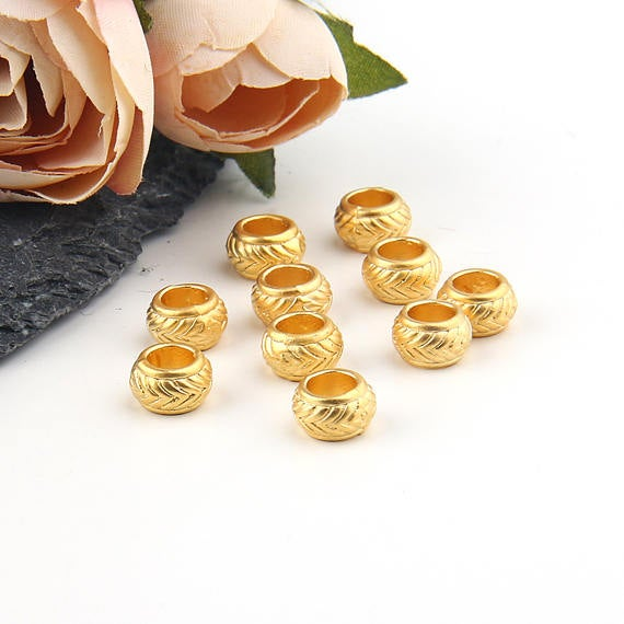 Large Hole Gold Bead Sliders // Gold Bead Spacers // Patterned Beads, 10 pieces // GB-223