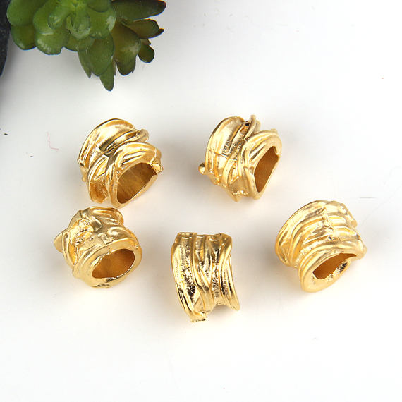 Gold Plated Large Hole Slider Beads, Tubular Beads, Organic Tube Beads, 5 pieces // GB-140A