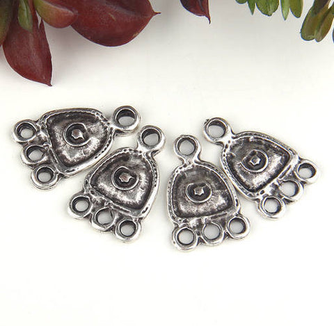 Silver Multiloop Connertor Link, Earring Component, Earring Chandelier, End Link, 4 pieces // SC-219