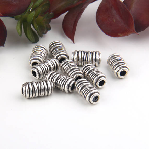 Silver, Wrapped Round Tube Beads, Wrapped Beads, Spiral Tube Beads, Tubular Beads, 10 pcs // SB-132