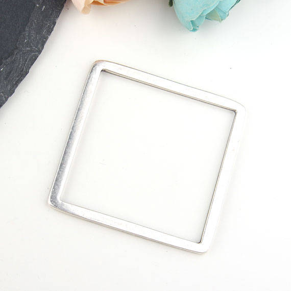 Large Square Loop Connector Pendant, Silver Square Pendant, Closed Loop Pendant, Minimalist Pendant, 58 mm, 1 piece // SC-217