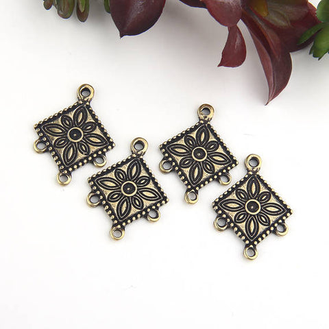 Bronze, Tribal Patterned Chandelier Connector, Earring Component, 4 pieces // ABC-032