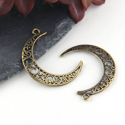 Bronze, Fretwork Moon Pendants, Moon Earring Pendants, Moon Components, 2 pieces // ABP-106