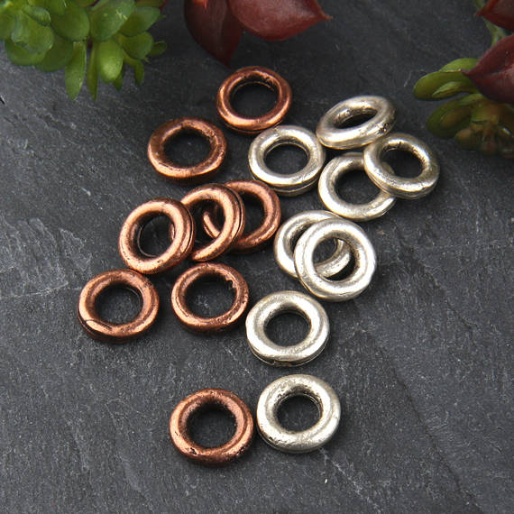SALE, Copper, 12mm Round Thick Closed Jump Ring Connector, Round Connector, Mini Copper Rings, 8 pieces // CC-012