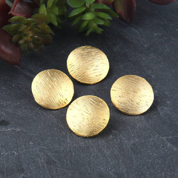 SALE, Gold, Textured Buttons for Wrapped Bracelet, Button Clasp, 4 pieces // GF-174
