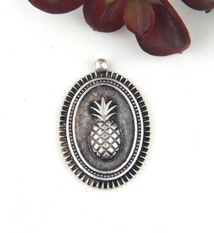 Silver Plated Oval Pineapple Medallion Pendant, Pendant, 1 piece // SP-341