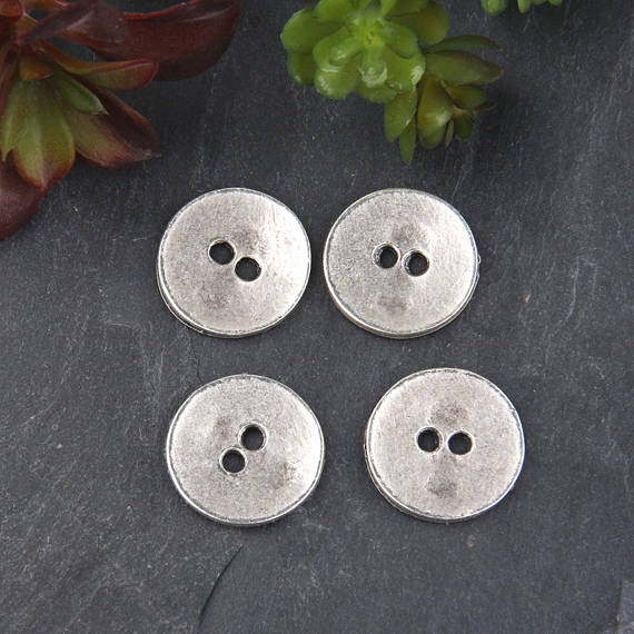 SALE, Matte Silver Button Beads, Button Beads, Metal Button Beads, 4 pieces // SB-129