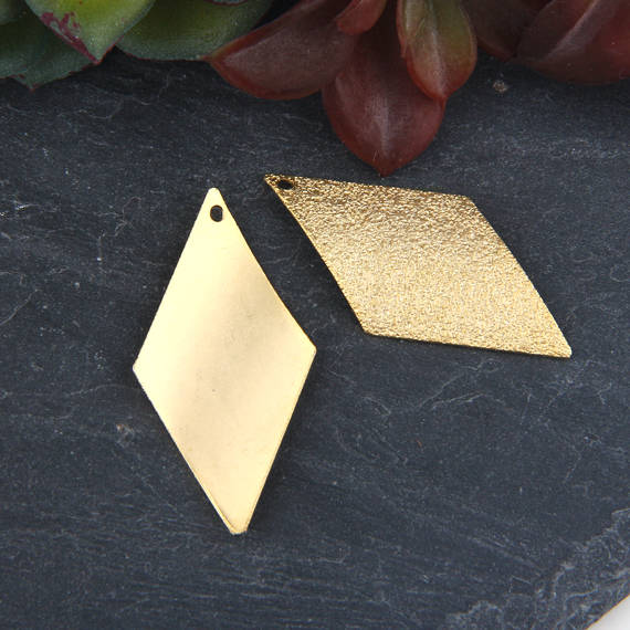 Gold, Laser Cut Sand Textured Diamond Shaped Charms, Earring Charms, Laser Cut Charms, 2 pieces // GCh-267