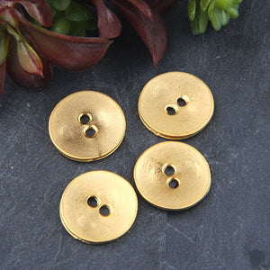 SALE, Button Beads, 22k Matte Gold Button Beads, Metal Button Beads, 4 pieces // GB-234