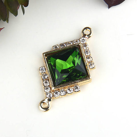 Green, Diamond Shaped Glass Crystal Connector, Gold Tone, Crystal Connector, 1 piece // GC-509