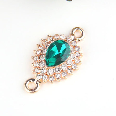 Green, Teardrop Shaped Glass Crystal Connector, Gold Tone, Crystal Connector, 1 piece // GC-510