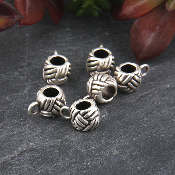 Silver, Pendant Bails, Scarf Bails, Charms Bails, Antique Silver Plated, 6 pieces // SF-112