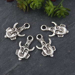 Silver, Tribal Mask Pendant Charm, Ethnic Mask Charm, Mask Charm, Mask Pendant, African Mask Charms, 4 pieces // SCh-162