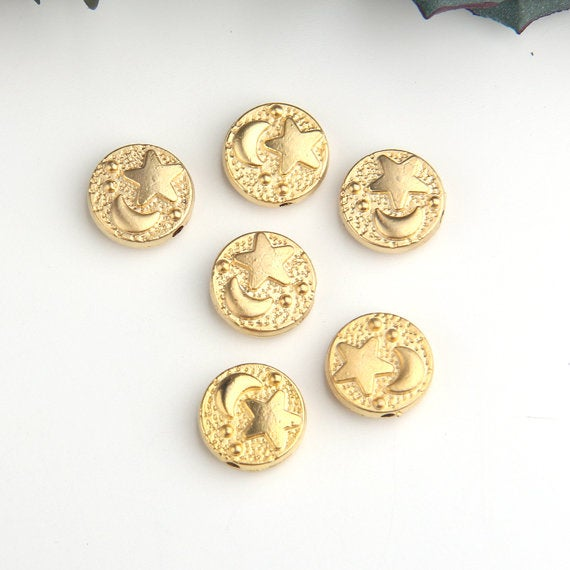 Gold, Round Moon and Star Bead Sliders, Gold Beads, Bead Spacers, Moon Beads, Star Beads, 6 pieces // GB-248
