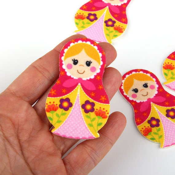 SALE, Stacking doll , Felt Appliques, Laser Cut Felt Appliques, Craft Felt, Cut OUt Felt, Felt Embellishment, 4 pieces