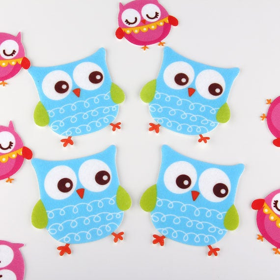 SALE, Owl , Felt Appliques, Laser Cut Felt Appliques, Craft Felt, Cut OUt Felt, Felt Embellishment, 4 pieces