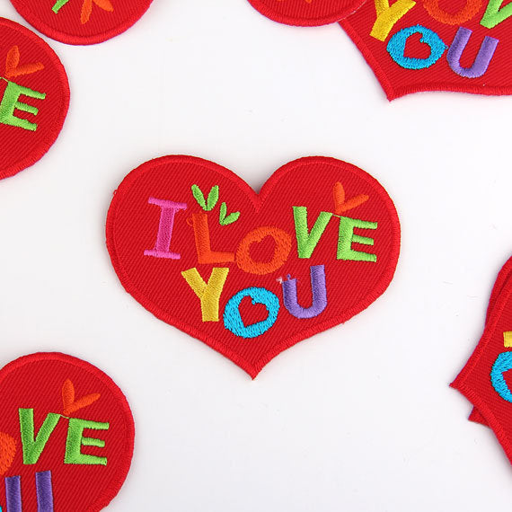 I Love You - Word Applique, High Quality Iron-on Applique, Iron-on Patch, Emroidered Iron-on Applique, 1 Piece