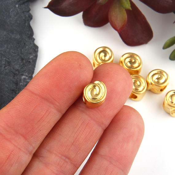 Gold, Swirl Curl Bead Sliders, Large Hole Curly Beads, Swirl Beads, 8 pieces // GB-242