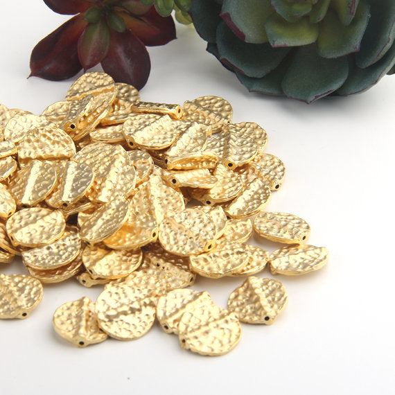 Gold, Hammered Flat Round Disc Bead, Flat Disc Bead, 22K Matte Gold Plated, 4 pieces // GB-250