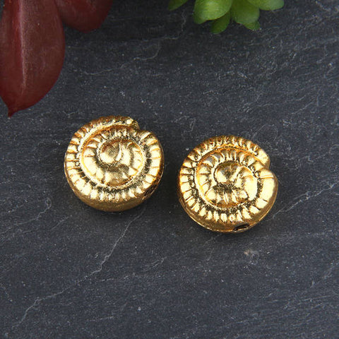 Gold, Metal Seashell Bead Sliders, Spiral Sea Shell Beads, Nautical Beads, 2 pieces // GB-244
