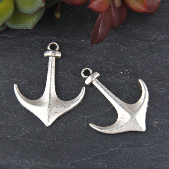 Silver, Anchor Pendant, Nautical Pendant, Anchor Charms, Sailing Pendant, Sea Jewelry pİECE, 2 piece // SP-354