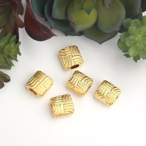 Gold Square Tubular Patterned Bead Sliders, Tube Bead Spacersi 5 pieces // GB-256