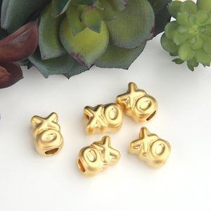 Large Hole Gold Slider XO Beads, Gold Kiss and Hug Bead Spacers, Quote Beads, 5 pieces // GB-260